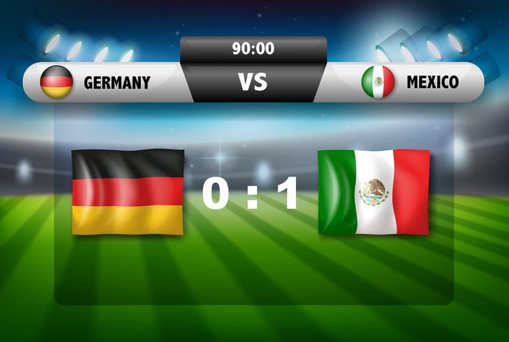 Deutschland gegen Mexiko-Fußballbrett vektor