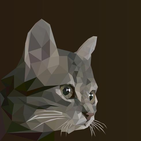 Cat low poly design. Illustrazione di logo di vettore del triangolo di animale per uso come una stampa su t-shirt e poster.