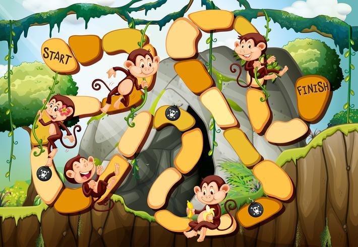 Spelsjabloon met apen in het bos vector