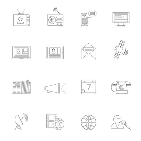 Media icons outline set vector