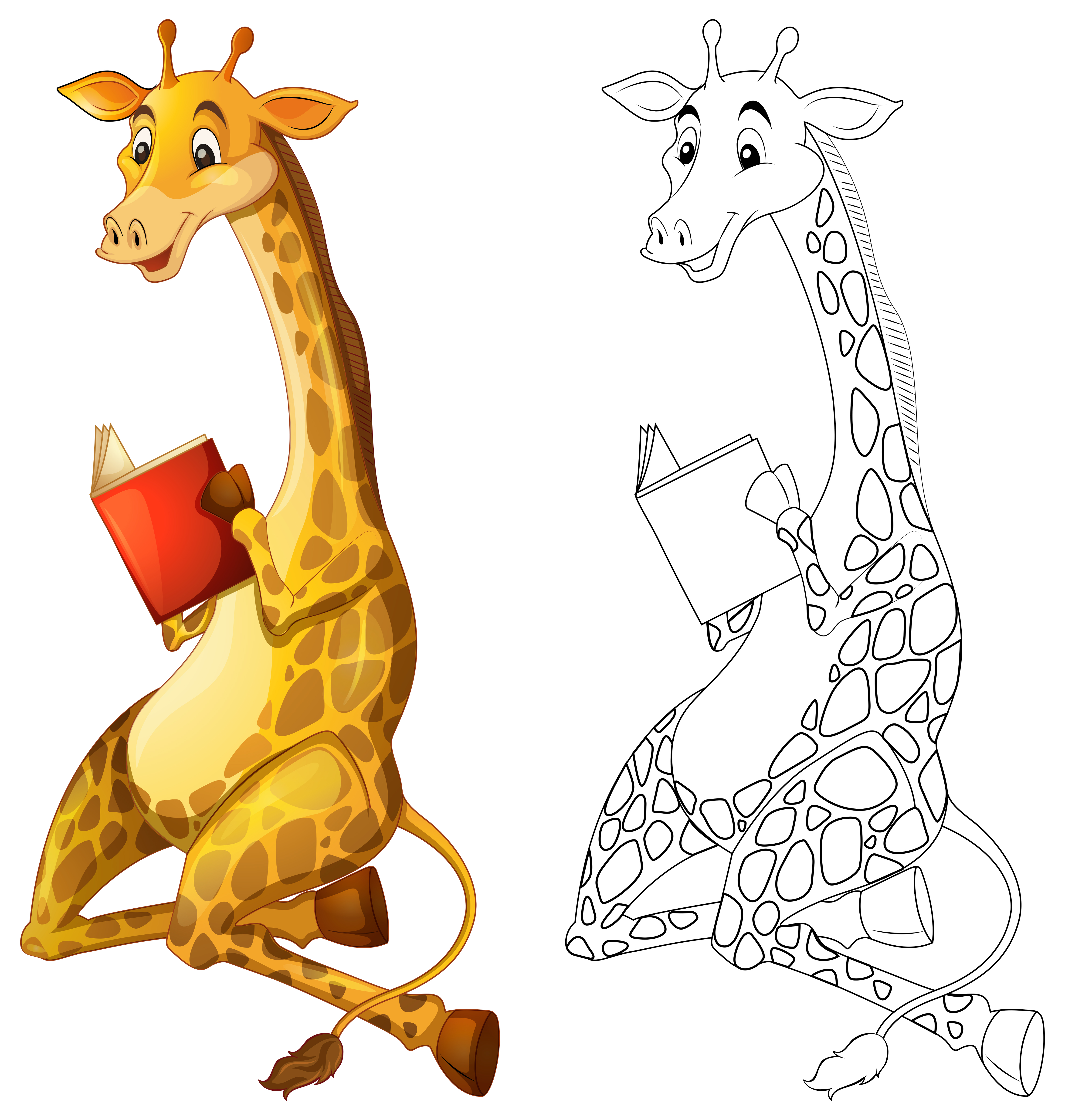 Doodles drafting animal for giraffe reading book ...