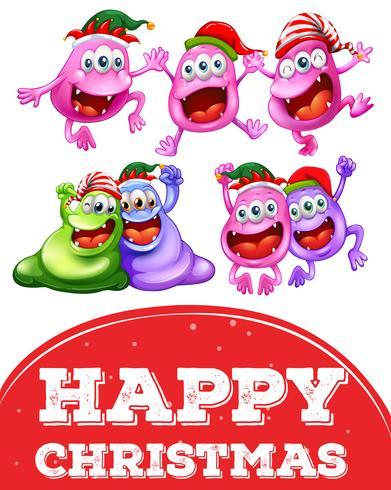 Plantilla de tarjeta de Navidad con monstruos felices