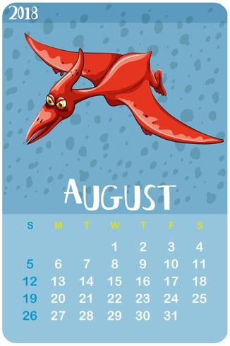 Plantilla de calendario para agosto