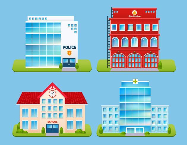 Buildings Emblems Set