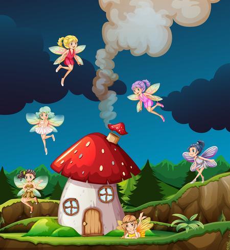 Fairy på mushroon hus vektor