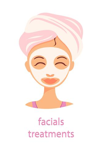 Good Morning Facial treatments vector illustration on blue background with text.