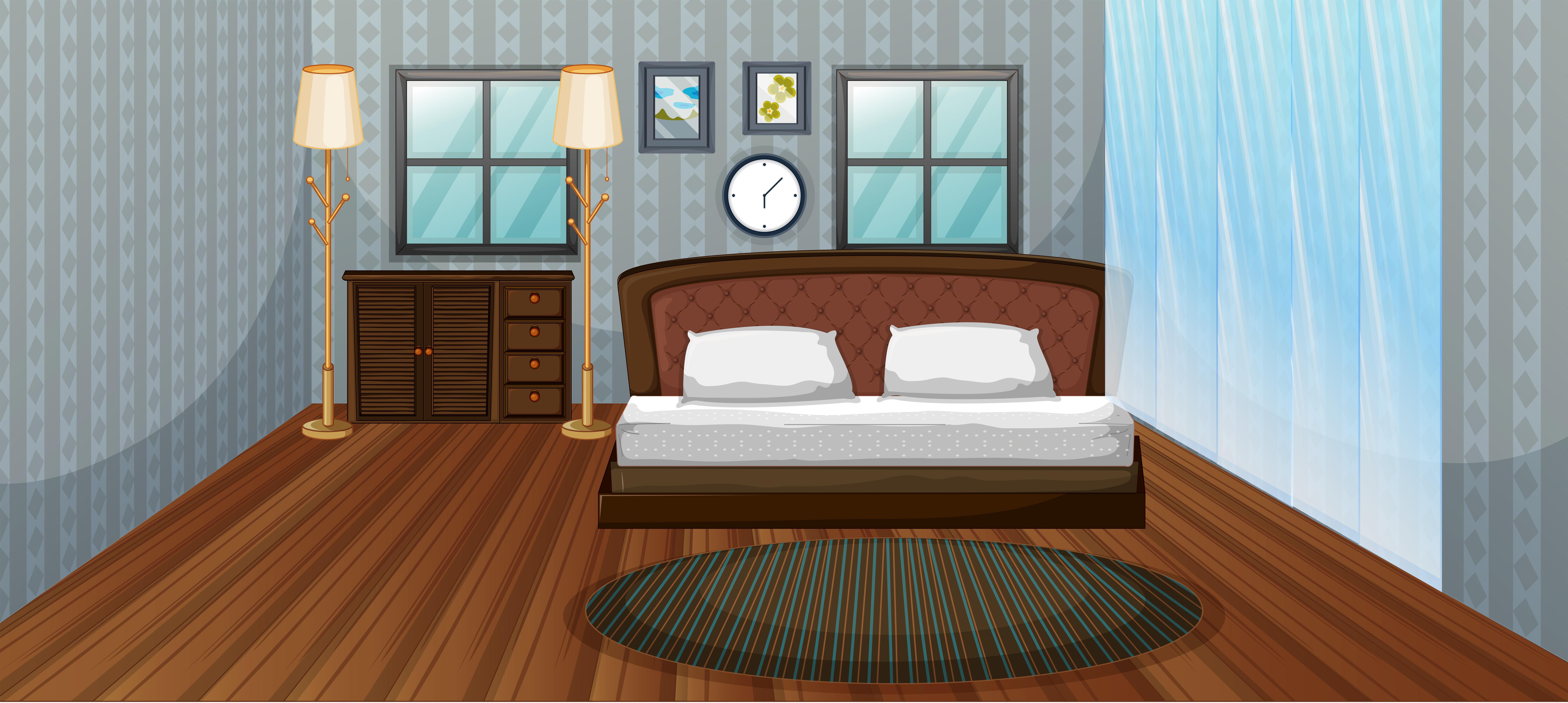 Bedroom Scene With Wooden Bed Download Free Vectors