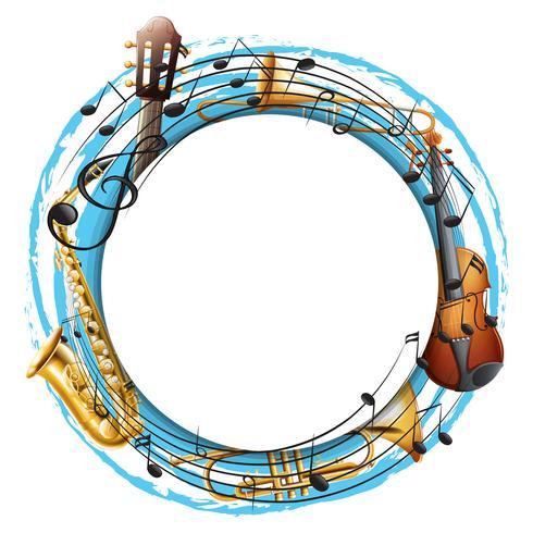 Moldura redonda com instrumentos musicais
