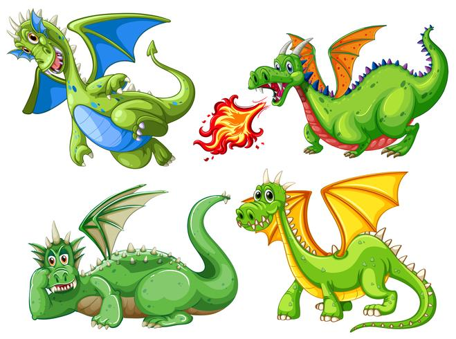 Set of green dragon