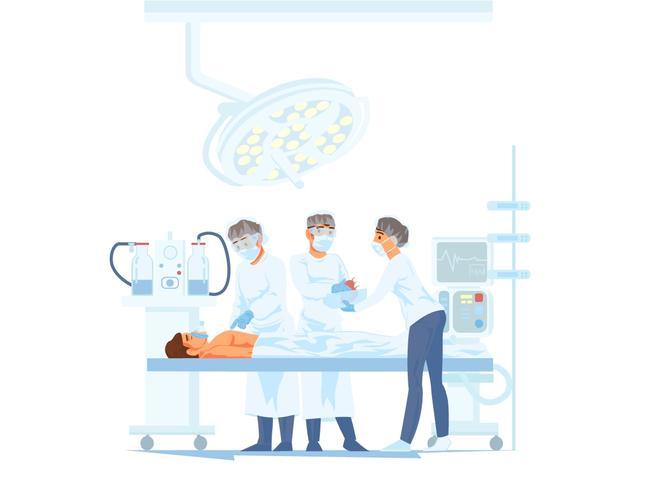 Gruppo di medici che esegue operazione chirurgica nella sala operatoria moderna vettore