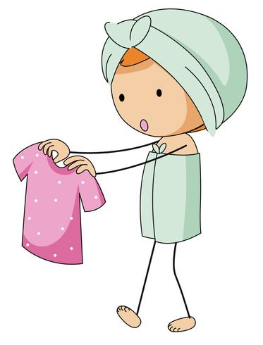 Girl in bathtowel holding pink shirt