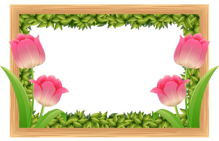 Plantilla de marco con flores de tulipán rosa