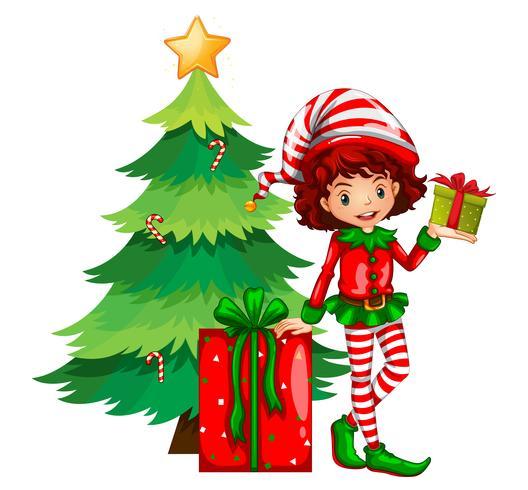 Tema navideño con arbol y elfo.