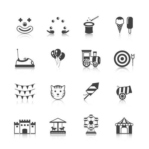 Amusement Park Icons Black vector