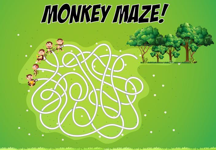 Doolhofspel met apen en bos