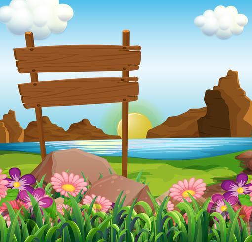 Scen med träskyltar vid sjön