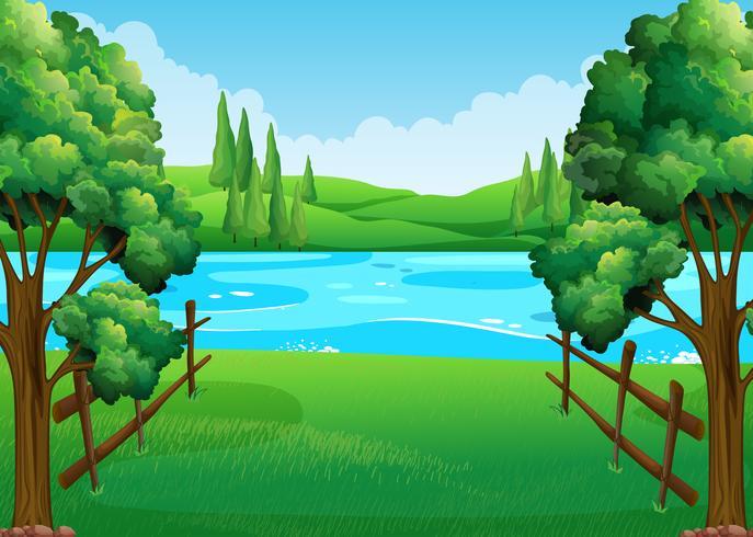 Escena con lago y campo