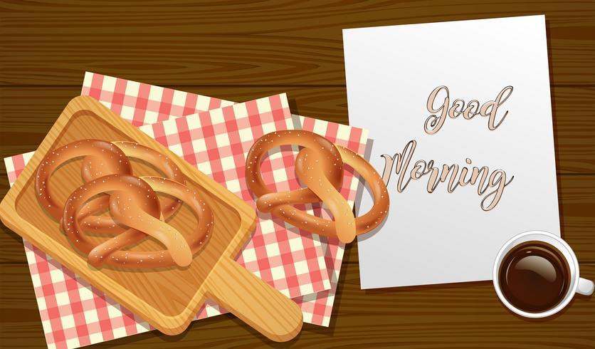 Sesam-Brezeln-Frühstücks-Draufsicht