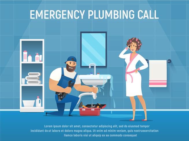 Perdita del tubo di riparazione dell'idraulico in bagno con la cassetta degli attrezzi