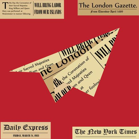 Paper plane. Aircraft from newspaper on white background. Fresh news concept. vector