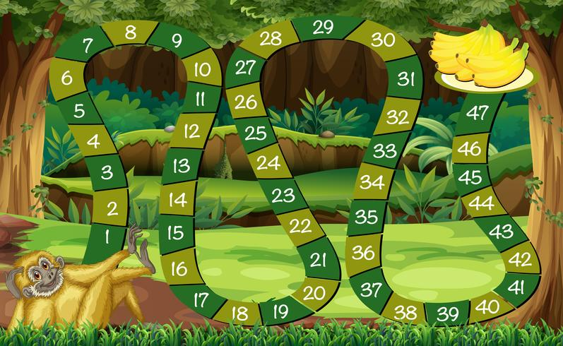 Game template with monkey in the forest