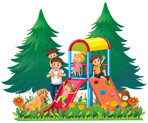 A family at the playground vector