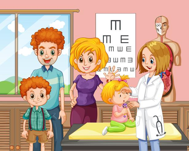 A family and baby a hospital vector
