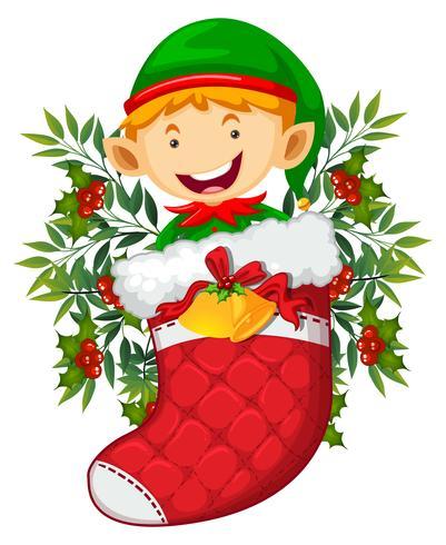 Tema navideño con elfo en calcetín rojo.