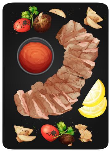 Bistec y salsa en un plato vector