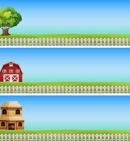 Tre scene di fattoria con campo verde e recinzione bianca