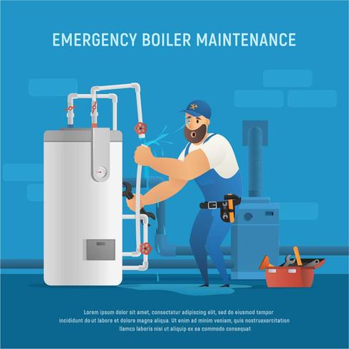 Fun Plumber Make Emergency Maintenance in Boiler Room
