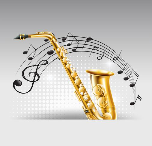 Saxophone with music notes in background vector