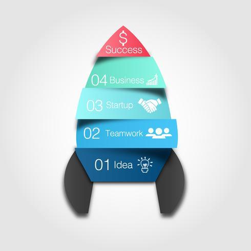Infografía de vector de nave espacial. Plantilla de cohete para diagrama de crecimiento, gráfico, presentación y tabla de progreso.