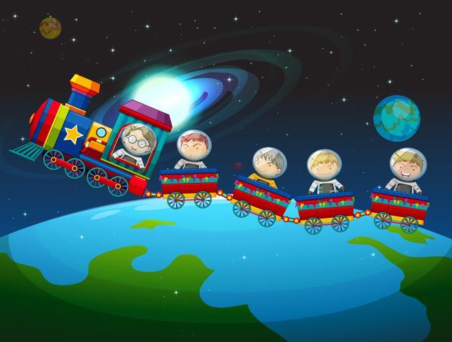 Niños montando tren en el espacio.