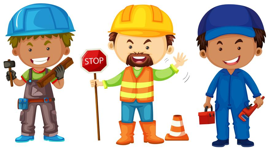 Drie mannen doen verschillende banen