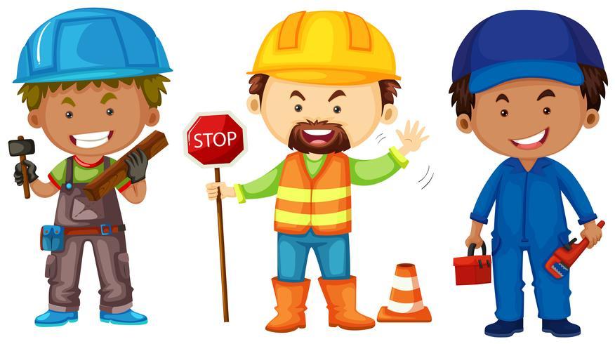 Three men doing different jobs
