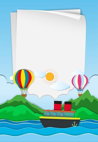Plantilla de papel con globos en el cielo