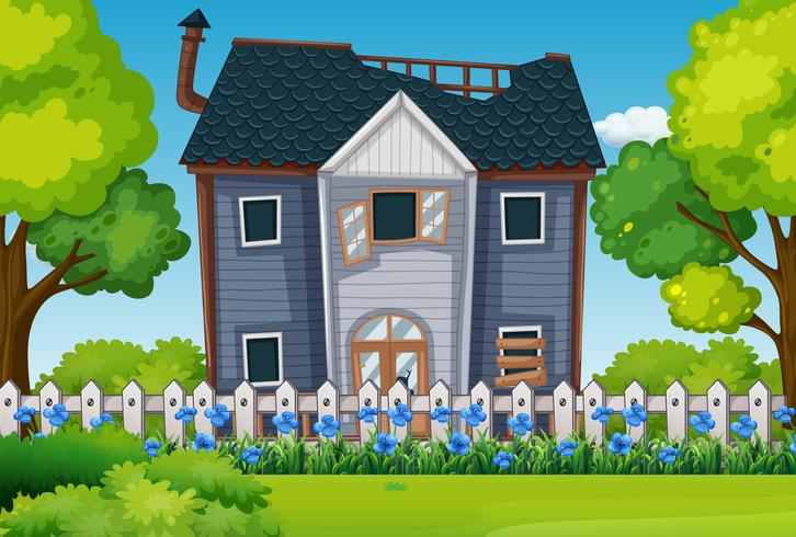 Old house with beautiful garden vector