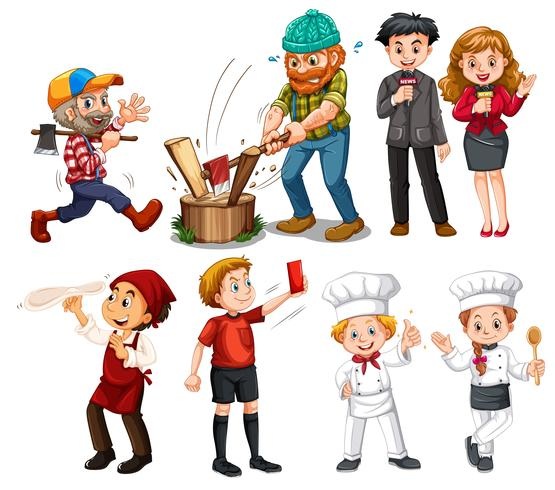 Set of people with different job vector