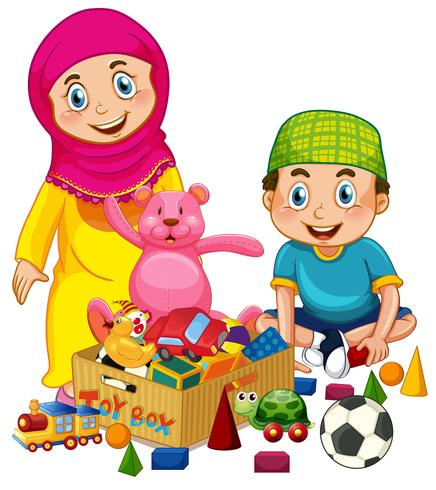 Muslimska barn leker leksak