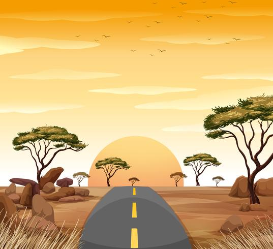 Sunset in the sky and empty road to nowhere