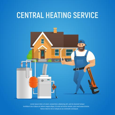 Vector Cartoon Character Plumber Central Heating Service of House