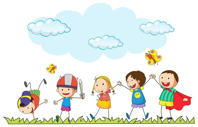 Children playing in the park vector