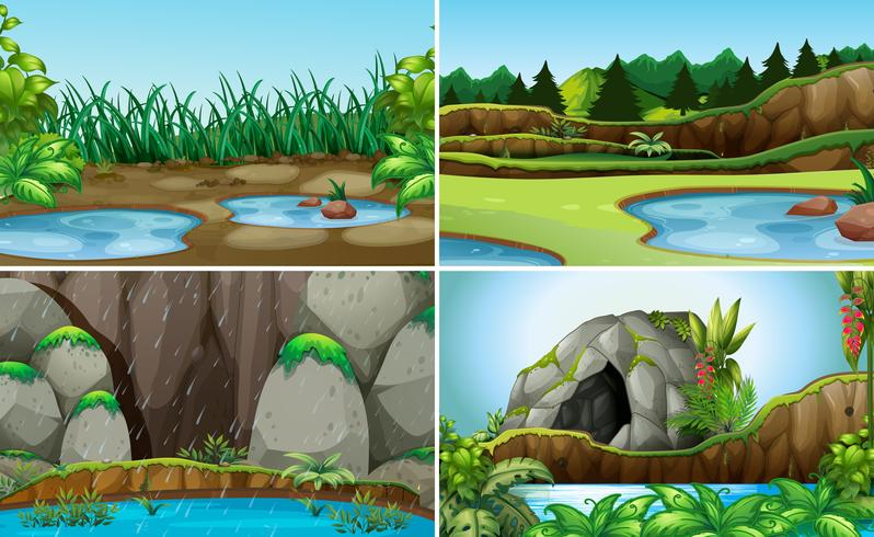 Set av natur vatten landskap vektor