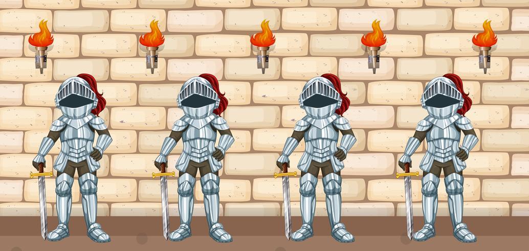 Quatro, cavaleiros, ficar, por, parede castelo