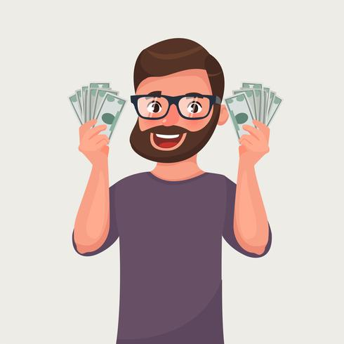 Hipster beard man with banknotes of money in his hands.