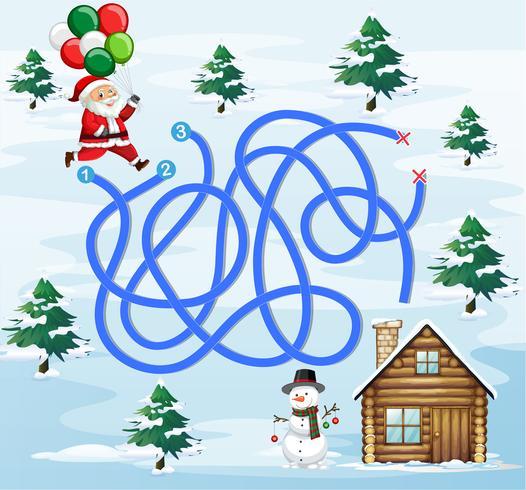 Santa finding way home vector
