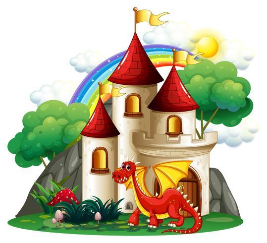 Cena, com, dragão vermelho, e, torres