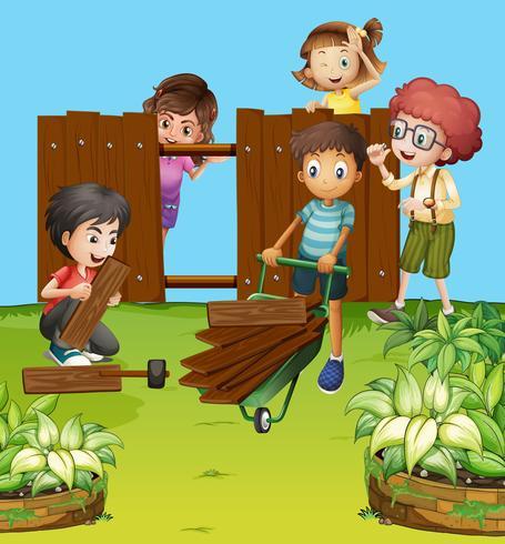 Children fixing fence in the garden vector