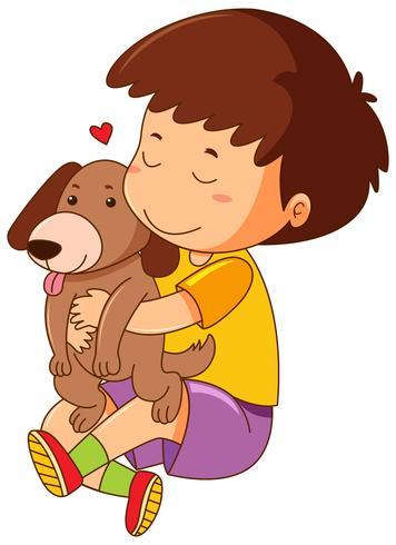 Little boy hugging pet dog vector
